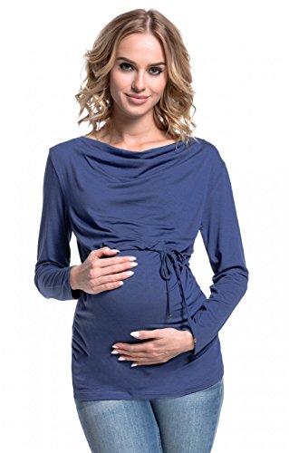 Happy Mama. Donna Top prémaman Allattamento Scollo Barchetta Doppi Strati. 002p