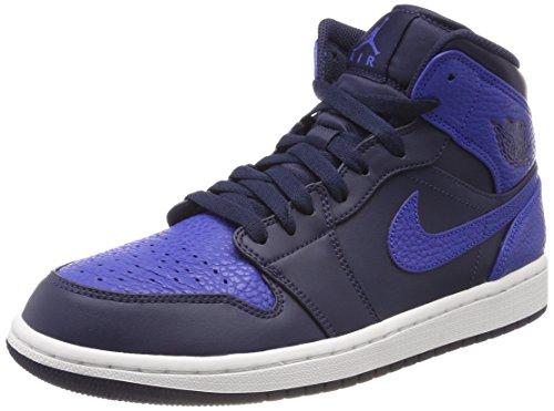 Nike Herren Air Jordan 1 Mid Basketballschuhe, Grau (Obsidiangame Royalsummit Weiss), 42 EU (Herren Nike Jordan Basketball-schuhe)