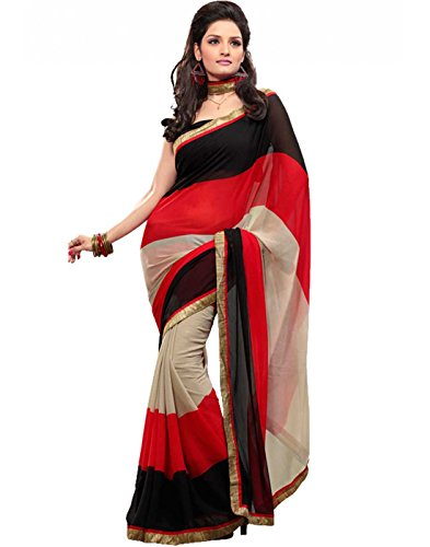 EthnicPark Designer Red & Black Chifon Saree With Blouse