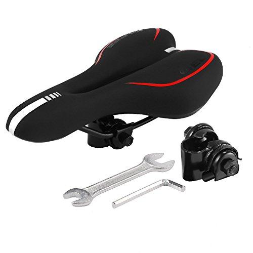 Speedrid Mountainbikesättel Fahrradsattel,Outdoor Comfort Fahrradsitz hinten Dual Spring für Rennrad Mountainbike (Schwarz) (Rot)