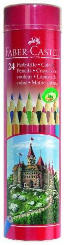 Faber-Castell 115826 – Set de 24 lápices de colores en bote metálico redondo