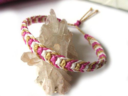 Pink Fuchsia Red /& Green Apple Macrame Friendship Bracelet Handmade brasilian//surf//bohemian threads wristband Papacho Creations