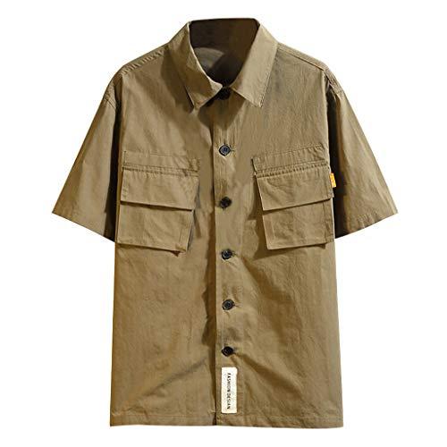 REALIKE Herren Kurzarm Greatest Hemden Pocket T-Shirt Einfarbig Casual Oberteile Tops Sommer Training Geeignet Für Workout Gegenmaßnahmen Outdoor-Arbeitskleidung Top