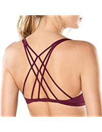 CRZ YOGA Donna Reggiseno Yoga Imbottito Supporto Criss Cross Back