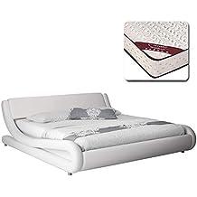 muebles bonitos Cama de Matrimonio de Polipiel Moderna Alessia con colchón Gama Media Pro Nature de