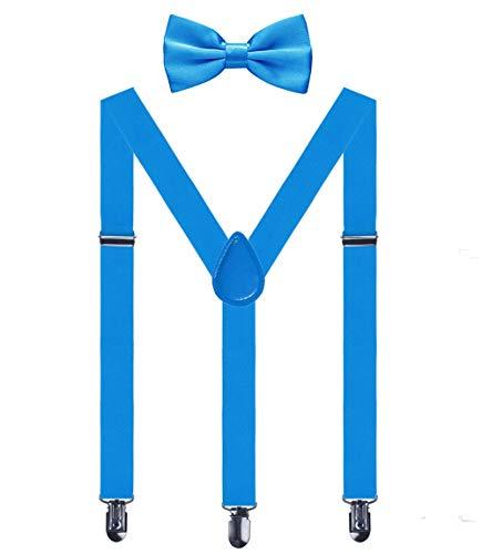 Aissy Herren Damen Hosenträger 2.5cm Y Form 3-Clips elastisch und längenverstellbar Hosenträger breit mit Fliege für Herren und Damen Licht Blau Fliege Licht