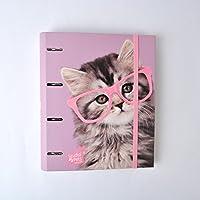 Grupo Erik Editores Studio Pets - Carpeta con 4 anillas troquelada con diseño gato, 32 x 27.5 cm