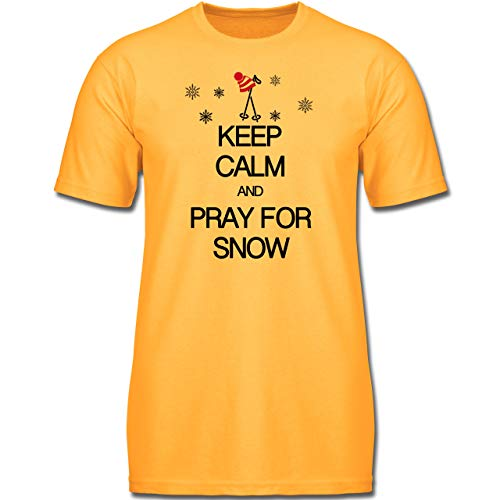 Up to Date Kind - Keep Calm and Pray for Snow - 104 (3-4 Jahre) - Gelb - F130K - Jungen Kinder T-Shirt -