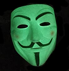 Smart Buy Anonymous Unknown Hacker V for Vendetta Face Mask- Glow In The Dark (Radium)