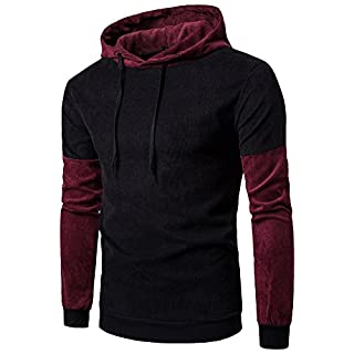 Anyu Mens Corduroy Sweatshirt Coat Casual Long Sleeve Hoodie Hooded Tops Sportswear Outerwear Black L