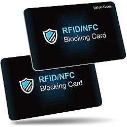 Carte Anti RFID, Befekt Gears [ Lot de 2 ] Carte de Blocage RFID/NFC Protecteurs de Carte de Crédit sans Contact Protège Entièrement Portefeuille, Carte Bancaire, CE, Passeport