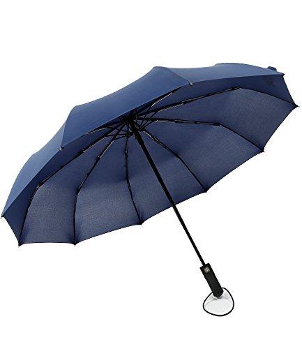 Vollautomatische Drei-Falt-Regenschirme, Automatisch Öffnen/Schließen, Große verstärkte Winddichte Rahmen,Neue Männliche Kommerzielle Kompakte Schnelle Trocknung 10 Rippen Sanfte Regenschirme (Blau) (Neue Falt-handtasche)