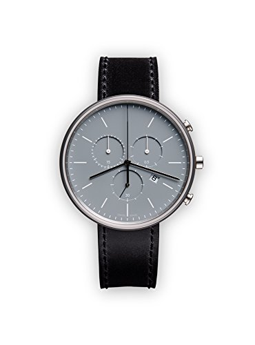 uniform wares m40 quartz watch with grey chronograph dial with black leather strap