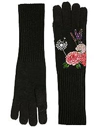 Desigual Damen Handschuhe GLOVES_BOTANIC, Schwarz (Negro 2000), One Size (Herstellergröße: U)