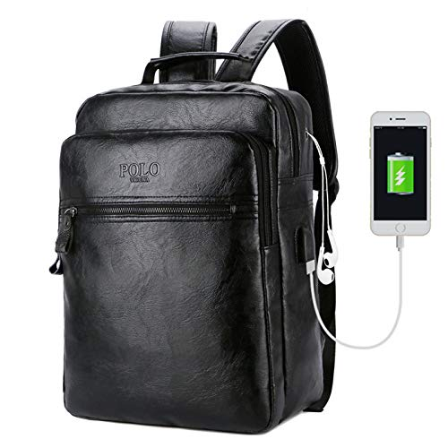 S&S Rucksack für Damen und Herren, PU-Leder, Schwarz Hochwertige Laptoptasche bis 15 Zoll Ideal für Schule, Sport, Fahrrad oder Reisen und Wandern.