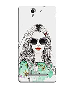 Fuson Designer Back Case Cover for Sony Xperia C3 Dual :: Sony Xperia C3 Dual D2502 (Beautiful Girl Red Lips Fashion Green Top Smart)