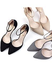 HRCxue Zapatos de la Corte Zapatos de Mujer con Tacones Altos Puntiagudos  con Hebilla 262be61ebe16