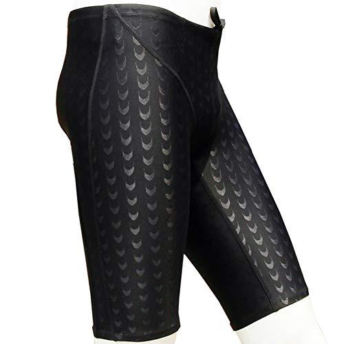 DLD Traje de baño para Hombres Piel de tiburón Negro Troncos de natación para Hombre de Secado rápido Pantalones Cortos para Nadar Cintura Ajustable Hombre Maduro Traje de baño (XXXL)