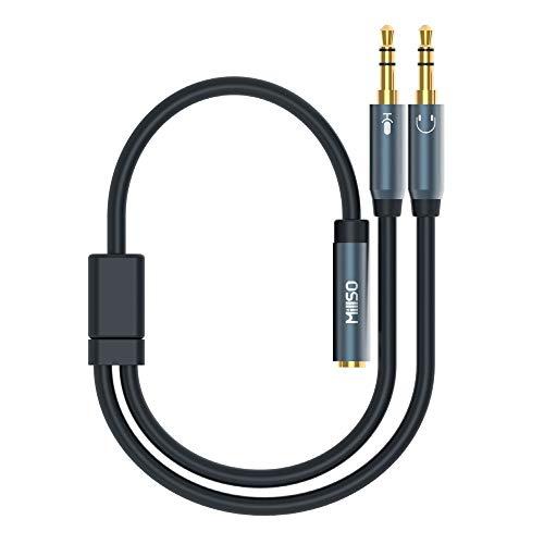 MillSO 3,5mm Klinke Y Adapter, vergoldete Headset Splitter (Doppel 3,5mm Klinkenstecker auf 4 polig 3,5mm Klinken-Kupplung in CTIA Standard) für Kopfhörer Desktop und Laptop -