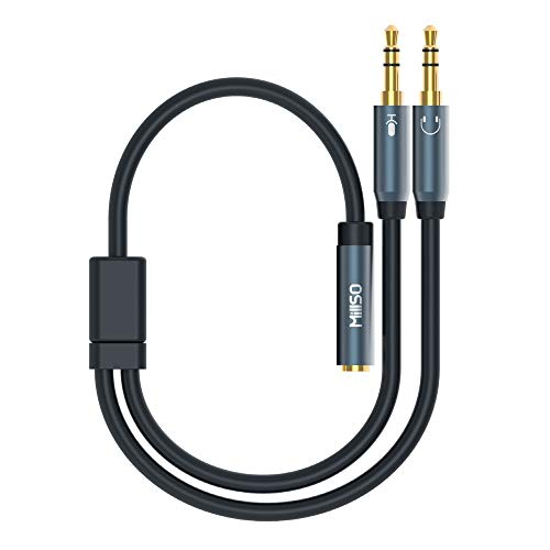 MillSO 3,5mm Klinke Y Adapter, vergoldete Headset Splitter (Doppel 3,5mm Klinkenstecker auf 4 polig 3,5mm Klinken-Kupplung in CTIA Standard) für Kopfhörer Desktop und Laptop (Headset-adapter)