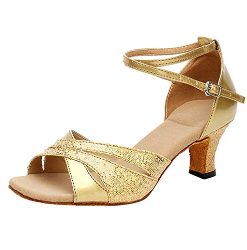 Damen Latein Salsa Performance Praxis Tänzer Tanzschuhe Satin mit funkelnden Glitter Latein Latin Dance Schuhe hohe Absätze Ballsaal Performance Sandalen Tanzschuhe Casual Sandalen 5cm TWBB -