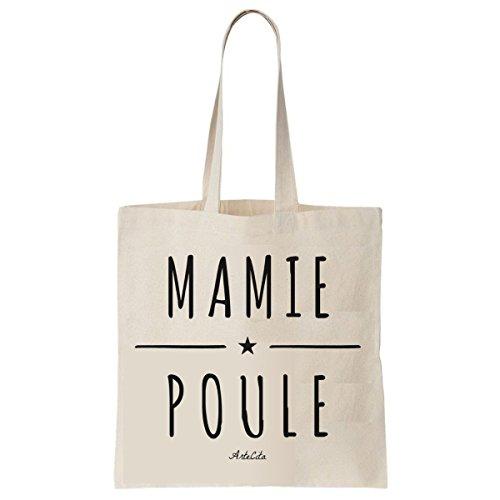 Tote Bag Imprimé Ecru - Toile en coton bio - Mamie Poule