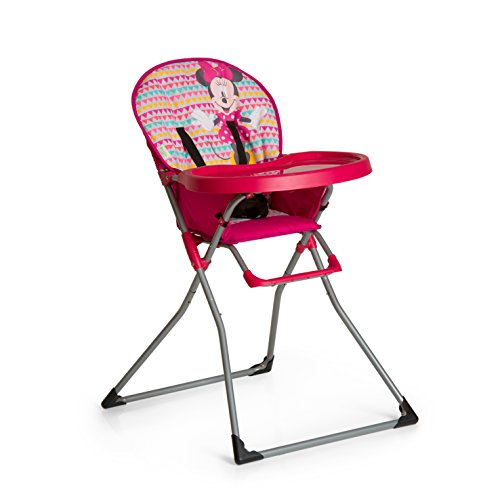 Hauck Mac Baby Disney Kinderhochstuhl, Essbrett mit Bechervertiefung, zusammenklappbar, ab 6 Monaten, pink (Minnie Geo Pink)