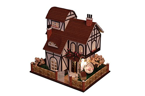 Rylai 3D Puzzles Wooden Miniature Dollhouse DIY Kit w/ Light -Flower Town Series Dollhouses Accessories Dolls Houses With Furniture & LED & Music Box Best Gift for Women and Girls