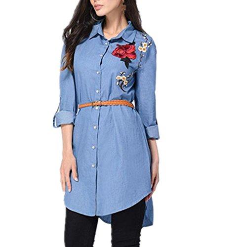 Blusen Damen, Bekleidung Longra Frauen Rose gestickte Langarmshirt kolorierte lange Hemd Kleid Partei Oberseiten Hemden (L, Blue) (Shorts Belted Gestickte)