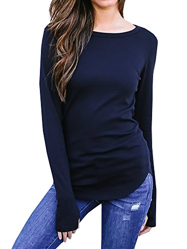 194a9956d0690 Outgobuy Women s Casual Long Sleeve Thumb Hole Solid Tunic Tops Slim Blouse  T Shirt Activewear (