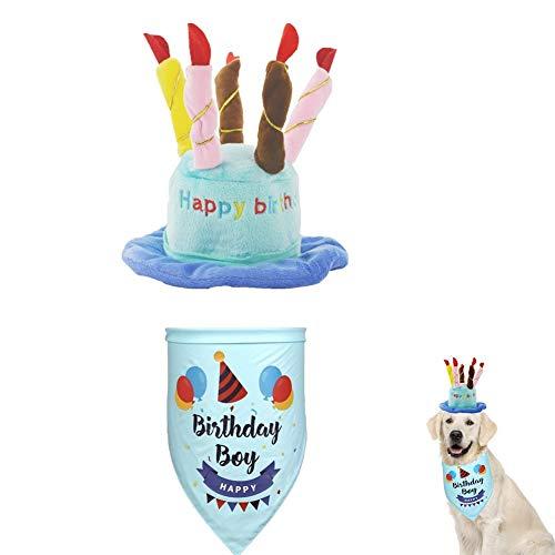 Kuiji Haustier-Geburtstagshut mit Halstuch, verstellbare Katzenhut mit bunten Kerzen, Hunde-Geburtstags-Schal, für große mittelgroße kleine Hunde und Katzen und Welpen, Party-Zubehör, Blau