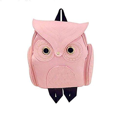 Moda taglio mini Owl zaino per donne da ragazza in eco-pelle bianco pink