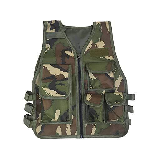 Kinder Tarnung Jagd Kleidung Männer Kampfausrüstung Taktische Armee Weste Kinder Cosplay Kostüm Airsoft Sniper Uniform (Color : Jungle Camouflage, Size : Kid 8T 14T) ()