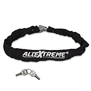 AllExtreme EXBHCL1 Heavy Duty Stainless Steel Helmet Lock Anti-Theft Luggage Secure Chain Lock Device with 2 Keys (Black)