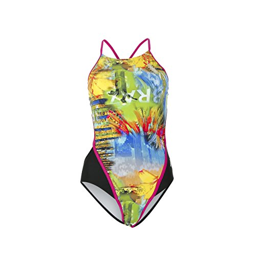 mp-michael-phelps-womens-selaron-open-back-swimsuit-size-uk-8-black-dark-pink-32-inch