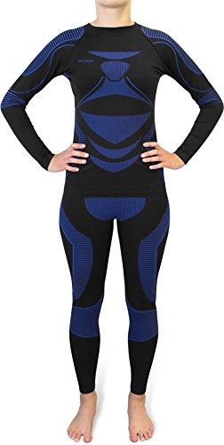 Damen Set Funktionsunterwäsche Polar Husky Thermoaktiv Atmungsaktiv Skiunterwäsche - Ski - Snowboard - Langlauf Farbe EAW / Blau Größe S/M