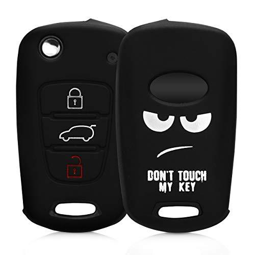 kwmobile Funda para Llave Plegable de 3 Botones para Coche Hyundai - Carcasa Protectora [Suave] de [Silicona] - Case de Mando de Auto con diseño Don't Touch my Key