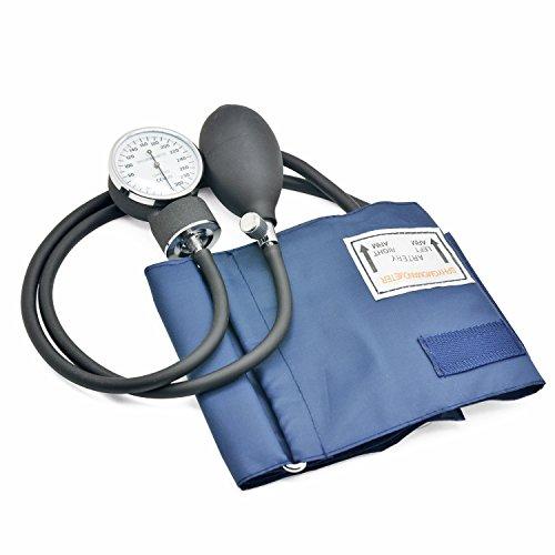 Belmalia Blutdruckmessgerät mit Stethoskop, Pumpball, Manometer, Manschette, Tasche für Rettungsdienst, Arzt, Praxis, Manuell, Blau Schwarz - 2