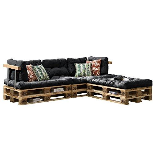 [en.casa] Euro Paletten-Sofa - DIY Möbel - Indoor Sofa mit Paletten-Kissen / Ideal für Wohnzimmer - Wintergarten (3 x Sitzauflage und 5 x Rückenkissen) Dunkelgrau