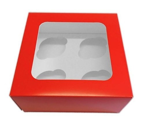 10 x NEW Red Cupcake Windowed Boxes Holds 4 cupcakes with Inserts