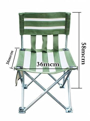 Linshe Chaise/chaise pliante/pêche/chaise pliante en Green-white-stripe/chaise de jardin pratique et robuste et léger 36* 36* 58cm