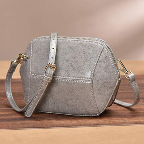 Uzanesx Echtes Leder Mini Satchel Bag Kleine Shell Bag Handtasche Nachrichtentasche (Color : Gray) -