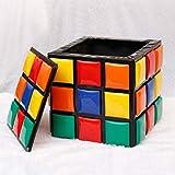 Zzaini Cubo di Rubik Stoccaggio Ottomano Legno massello De Grande capacità Ecopelle Pouf Sgabello poggiapiedi Decorazione Sgabello da Divano Ideale per Il Regalo Prova Sgabello Scarpa-B 42x42x42cm