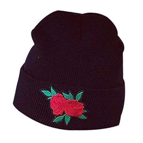 DAYLIN Women Winter Warm Rose Embroidery Applique Crochet Ski Hat Braided Cap (C)