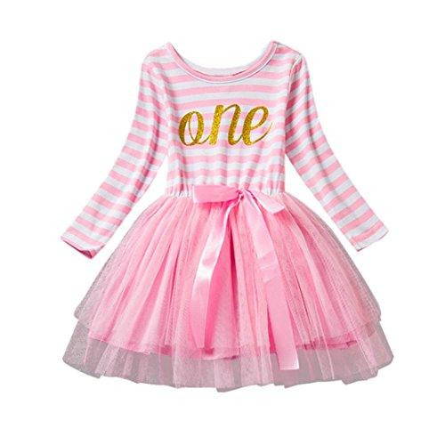 ggong Baby Mädchen Kinder Geburtstag Party Streifen Outfits Kleidung Tutu Prinzessin Bow Dress Geburtstagsgeschenk Babys Flauschiger Rock Elegant Kinderkleidung (90, Rosa) (Halloween Outfit-ideen Für Mädchen)