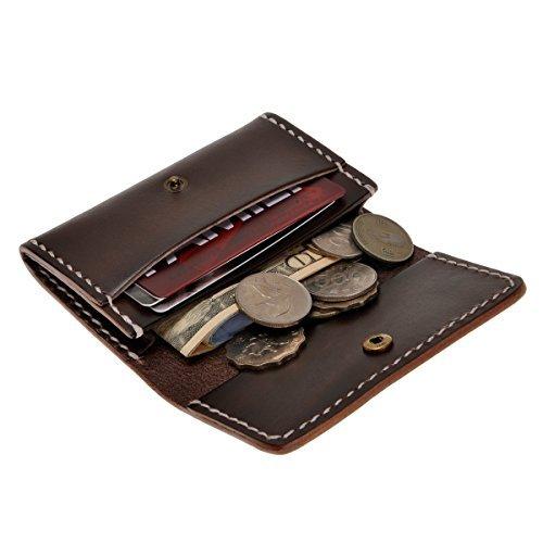 ZLYC hecha a mano cartera de piel de curtido vegetal y monedero-Unisex-titular de la tarjeta de Crédito Cartera fina marrón