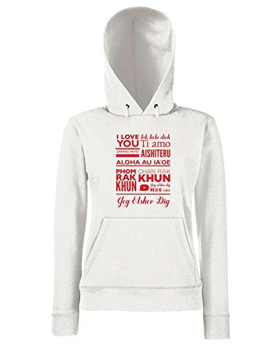 T-Shirtshock - Sweats a capuche Femme CIT0235 ti amo i love you different language Blanc