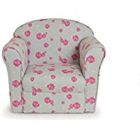 Kids Chair Pale Blue with Pink Flowers