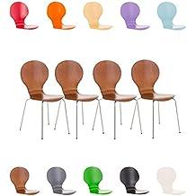 CLP Juego de 4 sillas apilables robustas DIEGO con un asiento de madera & de forma ergonómica, limpieza muy fácil, 12 colores para eligir marrón