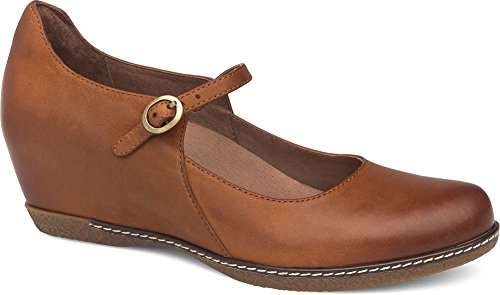 Dansko Women's loralie Mary Jane Flat Saddle Burnished Nubuck
